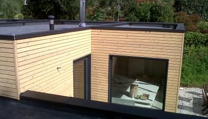 Couverture EPDM à Ingrand Monterblanc - couverture monocouche, finitions zinc , boite à eau, déscentes EP, couvertines